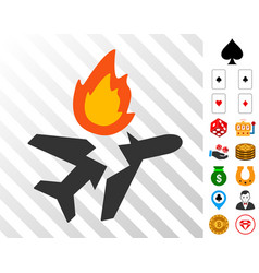 Airplane crash icon with bonus vector