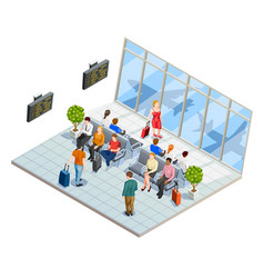 Airport waiting hall composition vector