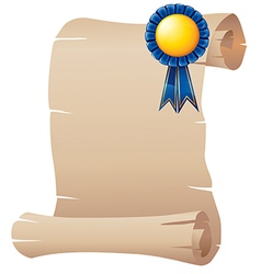 An empty paper with a blue ribbon vector