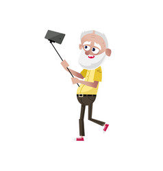 bearded old man doing selfie character vector image