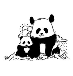 Big and small panda in the mountains vector
