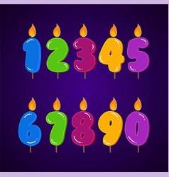 birthday candle colorful collection set all vector image