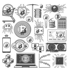 bitcoin mining cryptocurrency digital money icons vector image