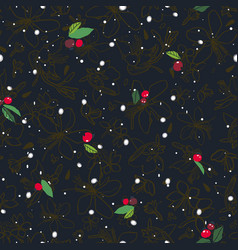 black pattern with berry and snow flake vector image