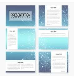 Blue set of presentation templates with vector