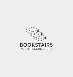 Book stairs line art logo template icon element vector