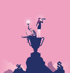 Business team standing on top mountain concept vector
