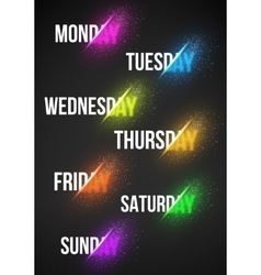 Calendar Week Days with Explosion Effect vector image vector image