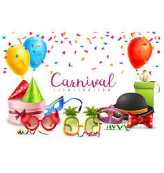 carnival party accessories poster vector image