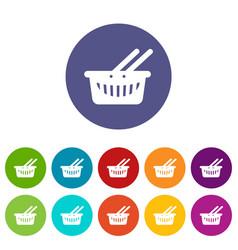 cart shop icons set color vector image