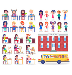 Children during lessons and ride in school bus vector