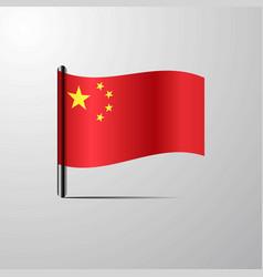china waving shiny flag design vector image