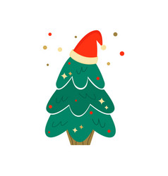 christmas tree with holiday hat season greetings vector image
