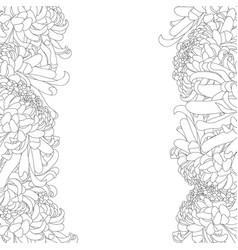 Chrysanthemum outline flower border vector