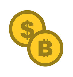 coins money dollar bitcoin isolated image vector image