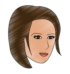 color pencil cartoon side profile face woman with vector image