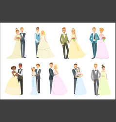couples posing together on wedding day bright vector image