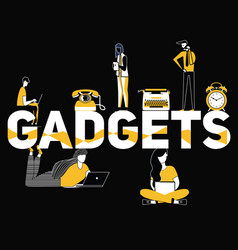creative word concept gadgets and people doing vector image