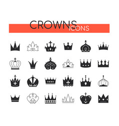 crowns collection - set black icons vector image