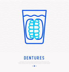denture in glass thin line icon vector image