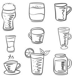 Doodle drink set hand draw vector