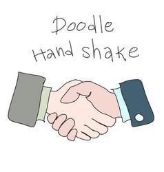 doodle hand shake handdrawn simple sketch concept vector image