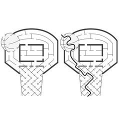 easy basketball maze vector image