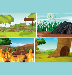 Four different natural disaster scenes forest vector