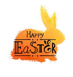 Grunge orange rabbit vector