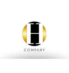h black white gold golden letter logo design vector image