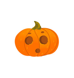 halloween pumpkin lantern with surprised face vector image