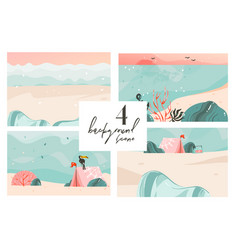 Hand drawn abstract cartoon summer time vector