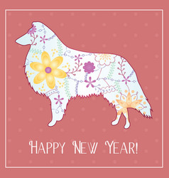 Happy new year with collie gradient vector