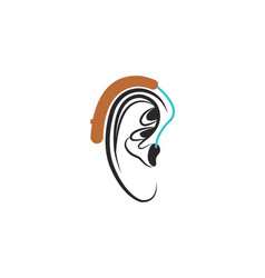 Hearing aid ear icon medical vector
