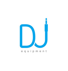 isolated monogram dj logo template blue wire vector image