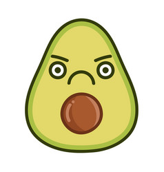 Kawaii angry avocado cartoon vector