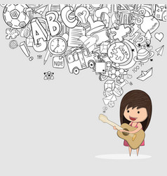 kid playing guitar against pupils back of school vector image
