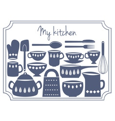 kitchen label vector image