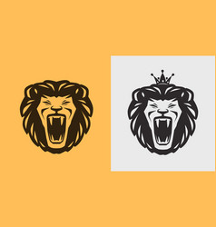 Lion roaring logo or label animal wildlife icon vector