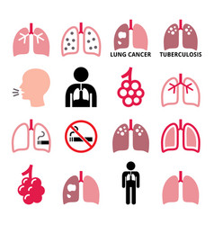 Lungs lung disease icons set - tuberculosi vector