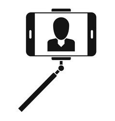 Man take selfie monopod icon simple style vector