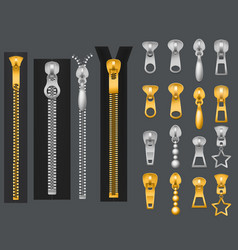 Metallic zippers realistic gold silver zipper vector