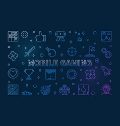 mobile gaming concept colorful outline vector image
