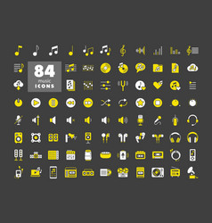 Music flat glyph icon set graph symbol for vector