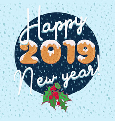 New year card design in cartoon style with text vector