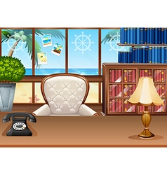 Office with ocean view from the window vector