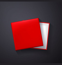 open red empty gift box on dark background top vector image