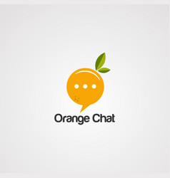 orange chat logo icon element and template vector image