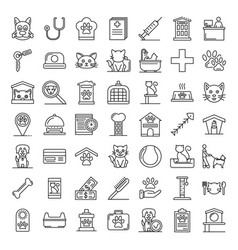 pets hotel icons set outline style vector image