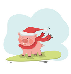 pig ride on surfboard with santa hat and red scarf vector image